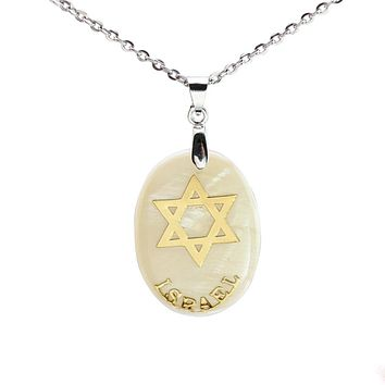 Cream Shell Jewish Star of David Charm Pendant Necklace