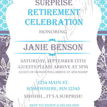 Floral Retirement Party Printable Digital Invitation For Her. Retirement Celebration Purple, aqua, white, turquoise. PDF invitation. e-vite.