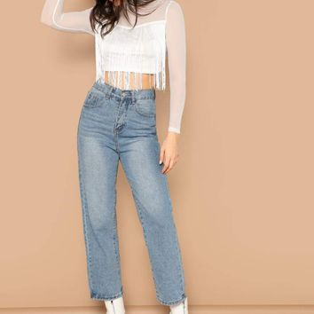 Fringe Detail Mesh Shoulder Crop Top