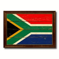 South Africa Country Flag Vintage Canvas Print with Brown Picture Frame Home Decor Gifts Wall Art Decoration Artwork