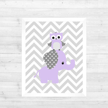 Lavender Gray Elephant Owl on Gray Chevron Baby Nursery Art CUSTOMIZE YOUR COLORS 8x10 Prints Nursery Decor Print Art Baby Room Decor