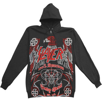 Slayer Men's  Zippered Hooded Sweatshirt Black Rockabilia