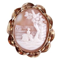 Victorian Cameo Gold Brooch