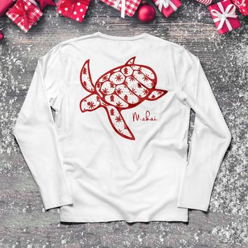 Frosty White Red Snowflake Print