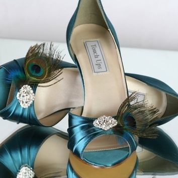 Peacock Shoe - Teal - Gatsby Wedding - Roaring Twenties Wedding -  Art Deco Wedding -  Choose From Over 100 Colors - Choose Your Heel Height
