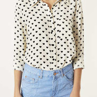 Long Sleeve Heart Print Shirt - Tops  - Clothing