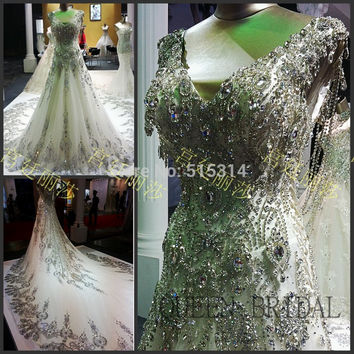 Princess Long Tail Crystal Lace Applique Wedding Dress