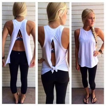 High Quality Women Summer Split back Cotton Vest Top Sleeveless White Blouse Casual Tank Tops Shirt
