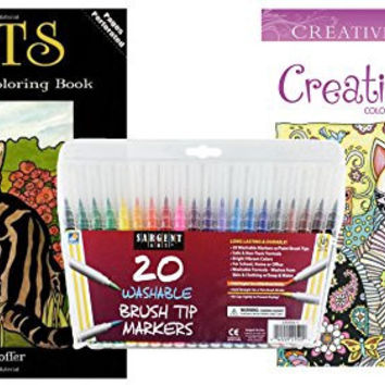 Sargent Art Washable Firm Brush Tip Markers in a Case, Set of 20 and 2 Cat Lovers Adult Coloring Books, Creative Cats and Dover Cats Stained Glass: Stress Relieving Designs to Relax and Enjoy!