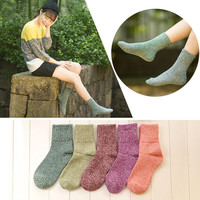1 Pair New Women Winter Casual Soft Wool Cashmere Socks Thick Warm Women Sock Solid Color  Socks calcetines mujer Cheap Z1
