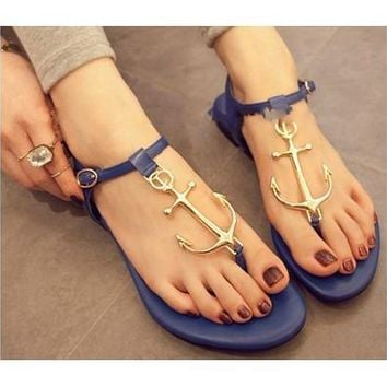Summer Women Sandal, Pirates Anchor Sandals Flat Thong Rubber Sole Flip Flops Arrow Beach Shoes