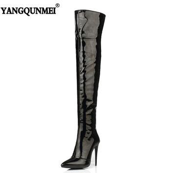 YANGQUNMEI 2018 New Patent Leather Nightclub Dance boots Woman's Shoes Fashion Large Size Long Boots For Women Size 33-43