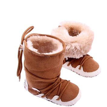 Newborn Cotton Soft Thick Baby Boy Girl Shoes Infant High-top Solid Boots Moccasins Warm Fleece
