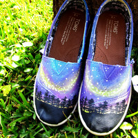 Custom Shoes: Hand Painted Toms - Northern Lights Toms