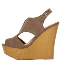 V-Cut Peep Toe Slingback Wedges by Charlotte Russe
