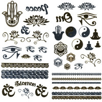 Metallic Yoga Temporary Tattoos Gold Combo One Size For Women 25396407901