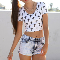 Multi Cross Crop Top for Summer