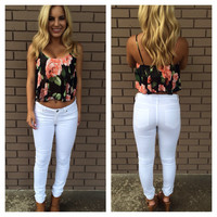 Fleur Of the Day Crop Top - Black