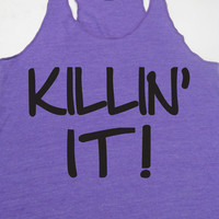 KILLIN IT Motivation. Kickboxing. Muay Thai. Crossfit. Running. Fitness. Exercise. Eco Friendly Tank Top WorkItWear