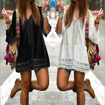 Women Casual V Neck 3/4 Flare Sleeve Crochet Hollow Out Short Dress Elegant Bohemian Beach Summer Dresses Vestidos