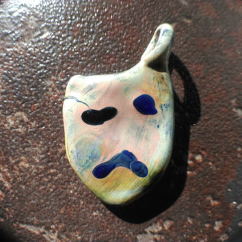 Happy or Sad Pendant - Theater Charm - Hand blown One of a kind Glass Jewelry