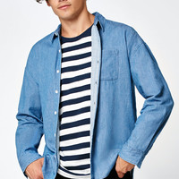 PacSun Denim Boxy Long Sleeve Button Up Shirt at PacSun.com