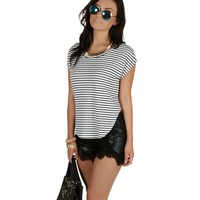 Ivory Fall In Line Striped Top
