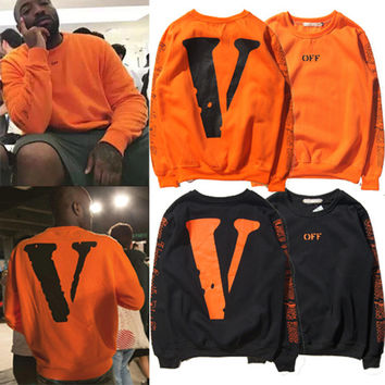 Autumn Off White Vlone Hoodie Sweatshirts Men Women Hip Hop Good Quality Cotton Big V Printing Solid Pullover Drake Kanye Hoodie