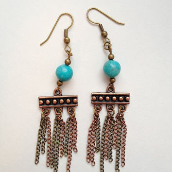 Turquoise and Copper Chain Earrings