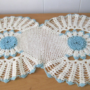 Blue Vintage Doily Handmade Crochet Home Decor Table Runner Linen Cottage Chic Holiday