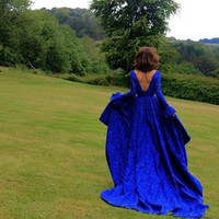 Arabic Royal Blue Lace High Low Prom Dresses Formal Backless Long Sleeve Evening Dresses Square Party Gowns Robe de soiree E47