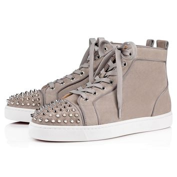 Christian Louboutin Cl 17s Lou Spikes Orlato Men's Flat Suede Gres/silver Sneakers - Best Online Sale