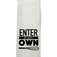 Enter At Own Whisk Hand Towel By Twisted Wares
