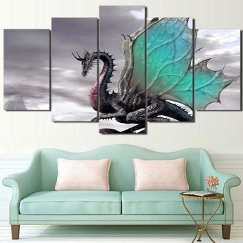 HD Printed Cool Enchanting Dragon Picture Painting Wall Art Room Decor Print Poster Picture Canvas Free Shipping