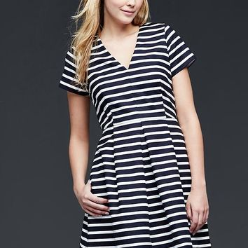 Gap Women Stripe Pleated Fit & Flare Dress
