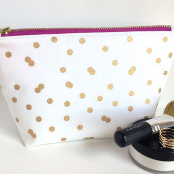 Large Makeup Bag, Large Zipper Pouch, Brides Makeup Bag, Large Cosmetic Bag, Pencil Pouch, Polka Dot Makeup Bag