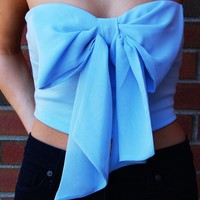 Chiffon Bow Top – Light Blue Strapless Crop Top with Chiffon Bow Front
