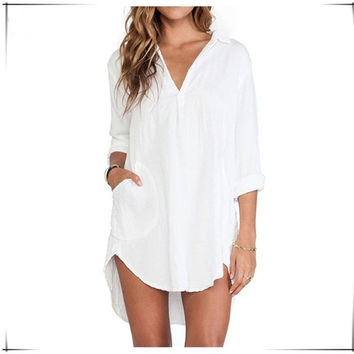 Summer Fashion White Long Sleeve Loose Street Dress = 1876595524