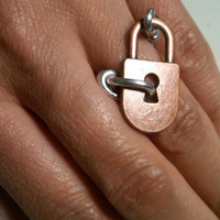 Copper & Silver Lock Ring
