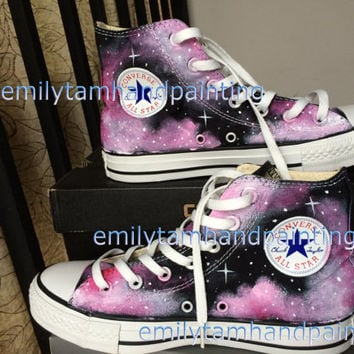 Custom Converse Galaxy Sneakers Hand Paint Galaxy Shoes Purple Galaxy Kicks Reserved for Lynn