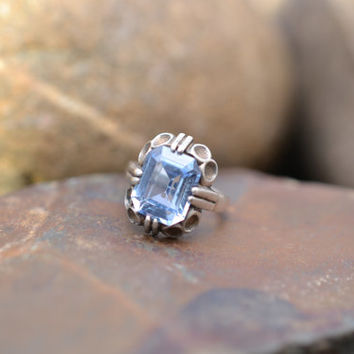 Sterling Silver Art Deco Ring with Brilliant Blue Stone