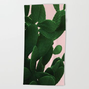 Cactus On Pink Beach Towel by ARTbyJWP