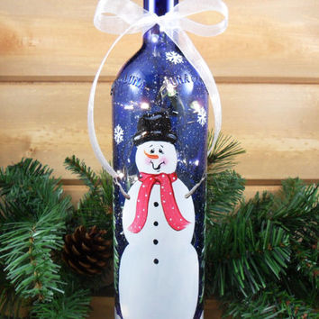 Snowman Lighted Wine Bottle Cobalt Blue Hand Painted 750ml