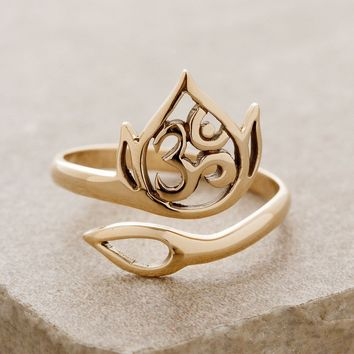 Lotus Om Bronze Ring