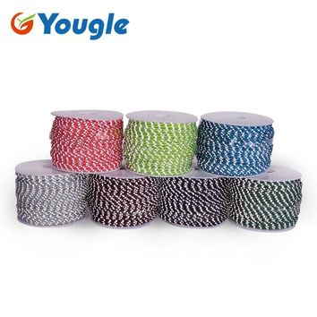 YOUGL 3 strand core Reflective Paracord Tent wind rope Parachute Cord Lanyard Ropemultifunctional Bold fixed rope  50m 160FT