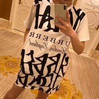 """Burberry"" Women Loose Casual Fashion Multicolor Tartan Letter Print Short Sleeve T-shirt Mini Dress"