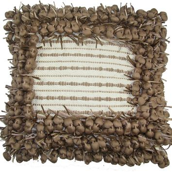 Design Accents Hand Woven Poly Nubs Funberry Ivory Rugby Tan 2 Tone Border Pillow