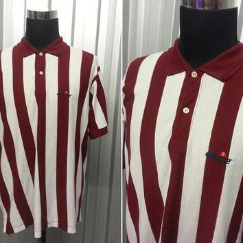 Vintage 80s Ellesse Polo Shirt ? Burgundy Shirt ? Retro Sportswear ? Striped T Shirt ?