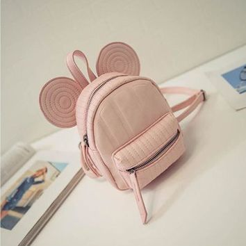 2017 New Baby Girls Backpack Princess Cartoon Minnie Kindergarten School Bags Kids Children Casual Travel Bags Beige Black Pink