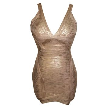 Metallic V-Neck Backless Cocktail Bandage Dress LAVELIQ